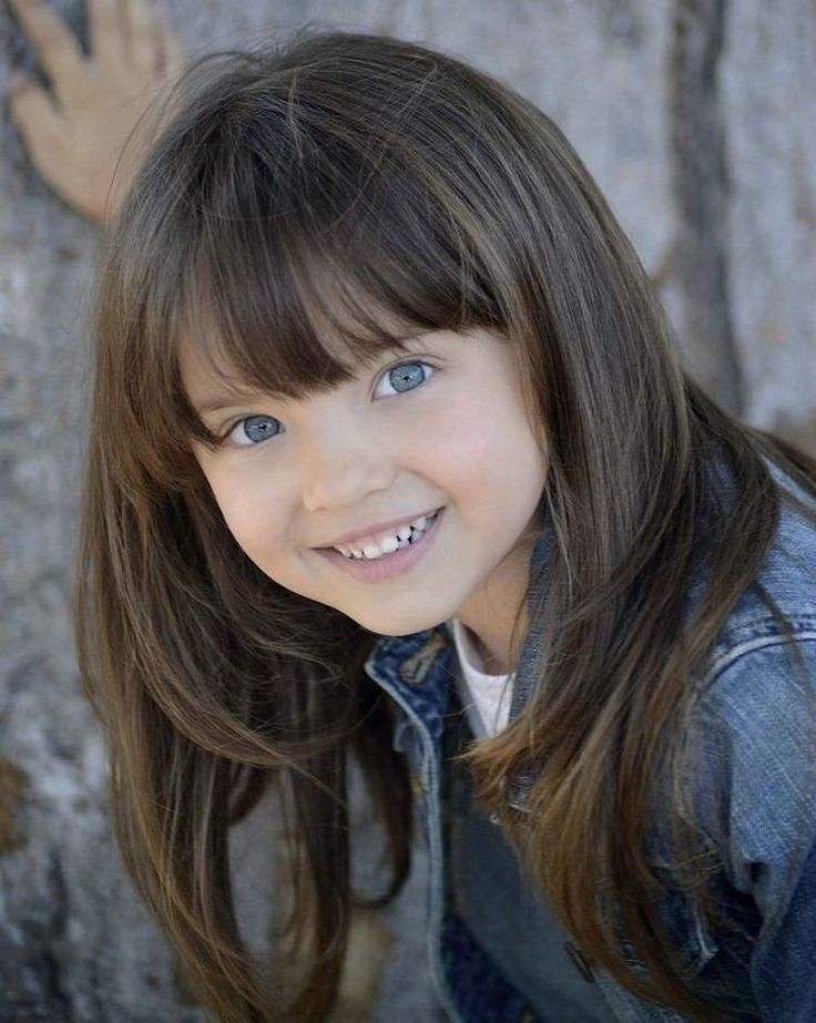 children's haircut girl straight bangs long hair step cut #kids #hair