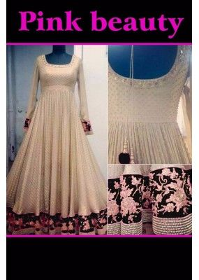 Bollywood Replica - Wedding Wear Cream & Black Anarkali Suit - PINK BEAUTY-A