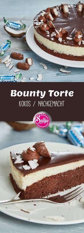 Die Bounty Torte besteht aus einem schokoladigen Kuchenboden, einer Kokosfüllun…