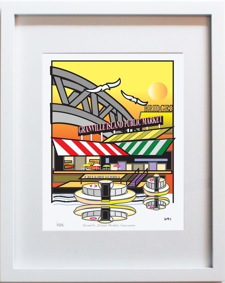 Granville Island Market in Vancouver BC - Yellow Background. Also available in a smaller 8x10in frame and with a blue background on our website.