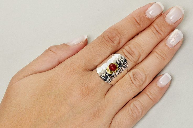 Red coral ring, silver tone hammered ring, long  alpaca ring, mixed metals ring, index finger ring, middle finger ring. women ring gift by ColorLatinoJewelry on Etsy