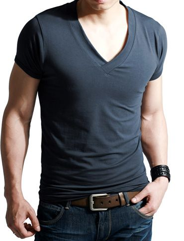 Modern Style Slim Fitted Deep V-Neck Short Sleeve T-Shirt