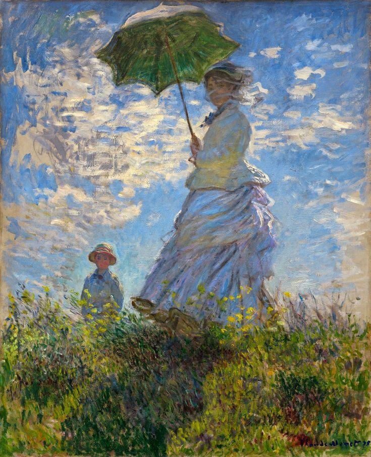 O Passeio, Mulher com um Guarda-Sol - Pinturas de Monet Claude | O Pai do Impressionism✖️No Pin Limits✖️More Pins Like This One At FOSTERGINGER @ Pinterest✖️