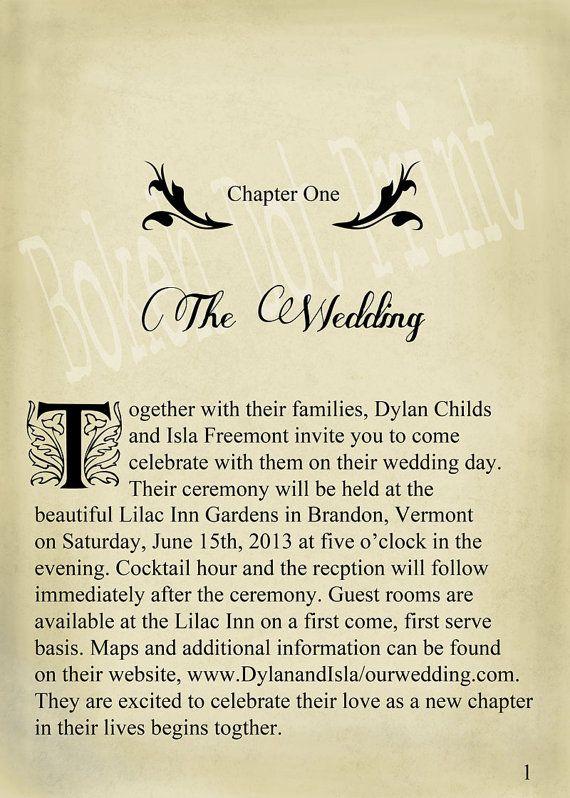 Novel Idea - Literary Wedding Invitation Set