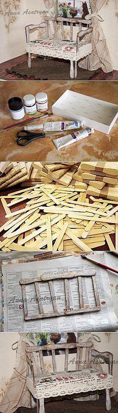 А у нас как всегда не самые обычные материалы для работ. На этот раз деревянные палочки от мороженого, а мастерим мы кукольный диван. И восхищаемся ге