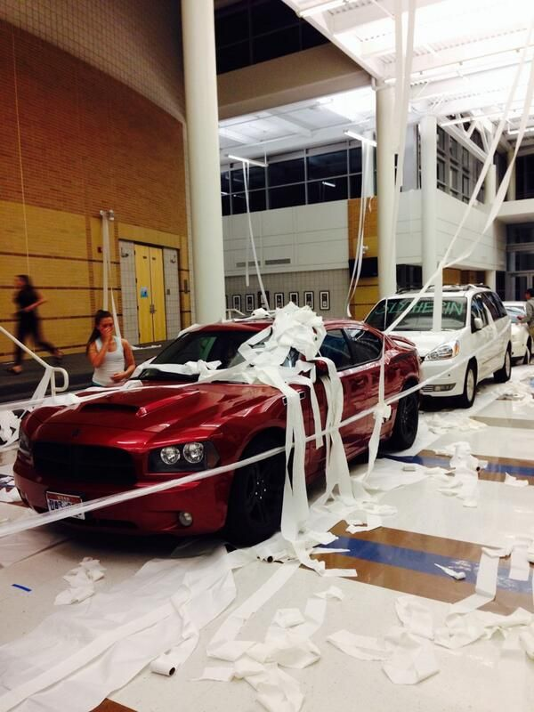 The 23 Best High School Senior Pranks Of 2014. Lol see the second car says Slytherin