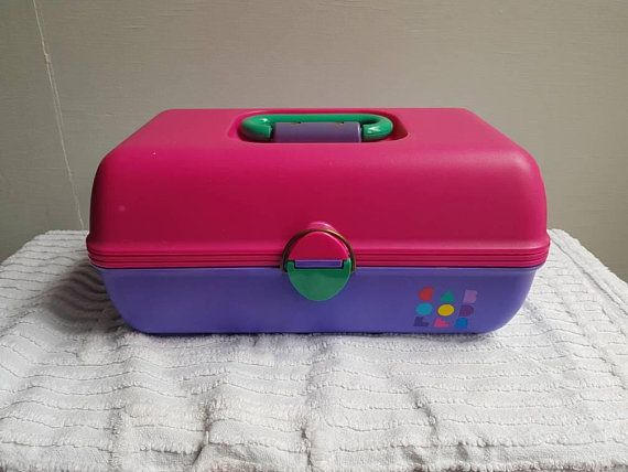 Caboodles Makeup Train Case Vtg 90s Tiered Two Mirrors 2635 Blue