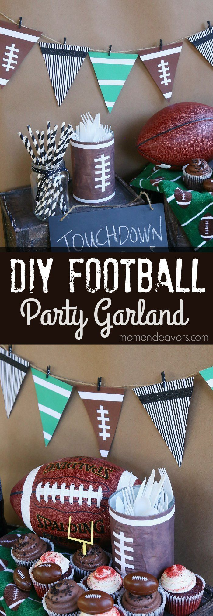 DIY Football Party Garland - directions for making a simple football bunting for tailgates or football parties. #HandsonCrafty AD