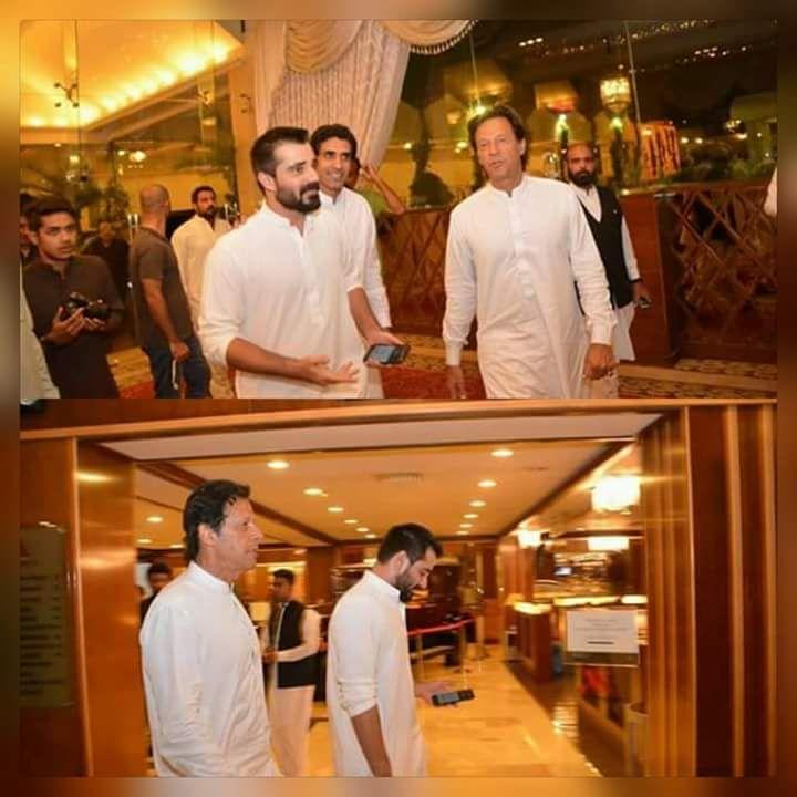 Imran Khan at Hamza Abbasi's sisters wedding. Both are looking Handsome in white shalwar Qameez😍❤