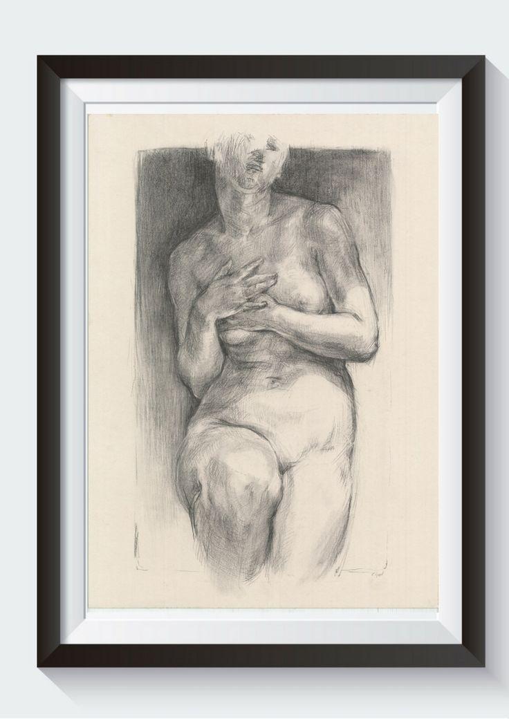 Nude drawing, nude sketch, nude charcoal, nude original drawing, nude art, nude original charcoal. Posing nude Female model study Woman nude Aktzeichnung Weibliche Nude Art Nude art drawing