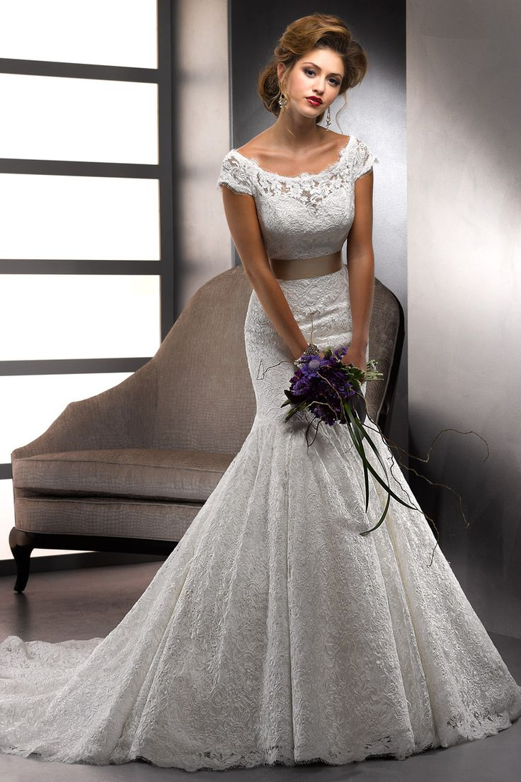 Beautiful Beautiful Sottero and Midgley dress style Amara Rose featuring a off the shoulder neckline and fit u Flare skirt from BestBridalPrices