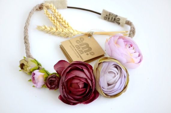 Wedding flower hairpiece peony floral crown by MAMMBAaccessories
