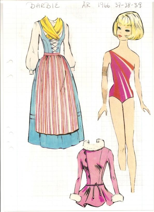 Swedish Barbie paper doll, 1966