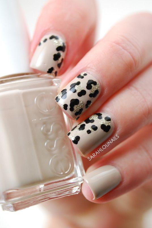 Nude Leopard Print Fade Nails! nail art by Sarah