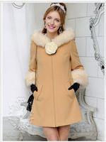 2016 inverno novo produto de alta qualidade fashion um pêndulo gola de pele de médio longo estilo mulheres camel melhor casaco barato