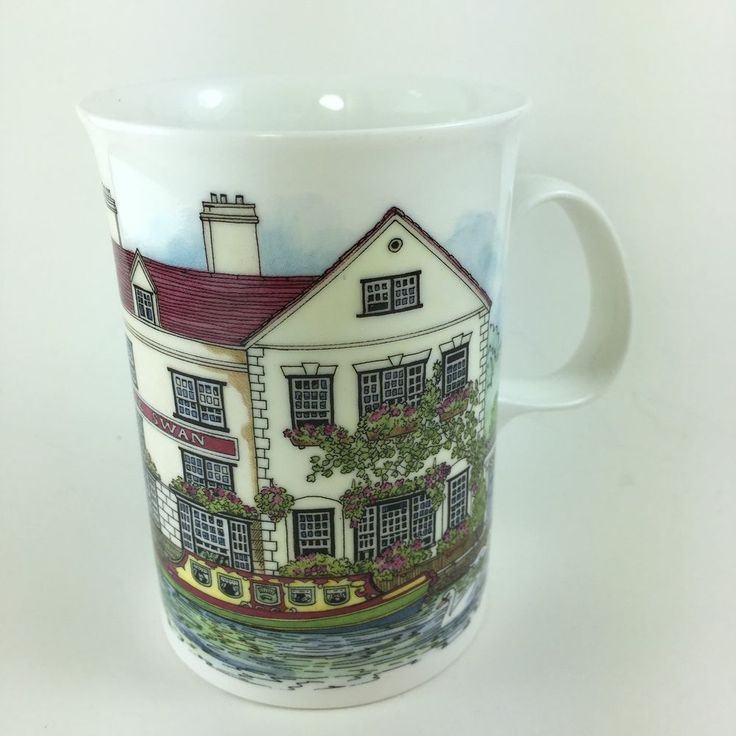 Dunoon Village Inns Series White Swan Bone China Mug Cup by Sue Scullard England #Dunoon