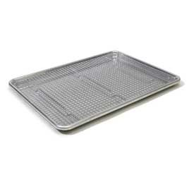 CIA Bakeware 12-Inch x 17-Inch Cooling Rack -  Model # CIA-23304  for $15.95. Highly Recommended-Winner! Fit perfectly inside a standard 18- by 13-inch rimmed baking sheet, offering extra support with a central brace and six feet rather than four. Did not warp in oven or dishwasher.  http://www.amazon.com/dp/B000OFND8W/?tag=cioprodcoll2-20