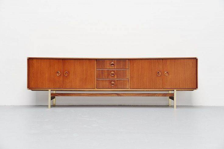 Fristho Long Sideboard In Teak And Brass Holland 1960 | Mass Modern Design