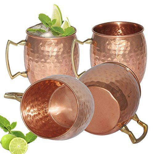 FIGO INC ® 100% Pure copper hammered Moscow Mule mugs Set of 4