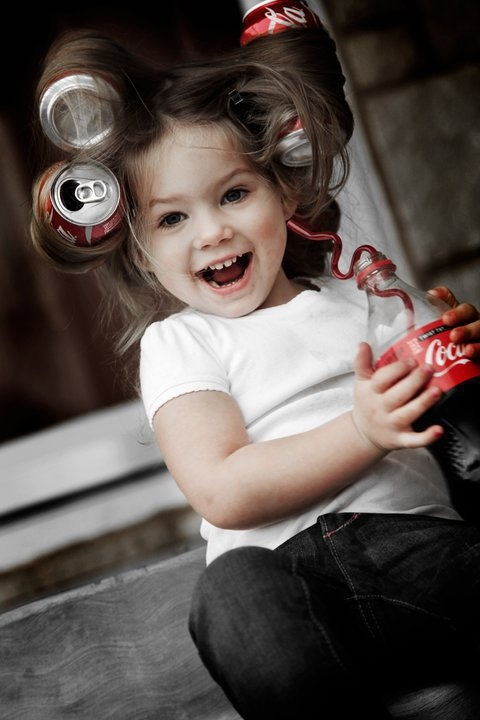 Now this is a Coke girl! Too cute! ♥ Photo Session Ideas | Props | Prop | Child Photography | Spa Day | Beauty | Pose Idea | Poses | Fun | Hair Salon