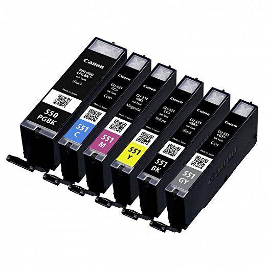 Canon - 6496B005 - PGI-550/CLI-551 - Cartouches d'Encre - Pack de 6 - Multicolore