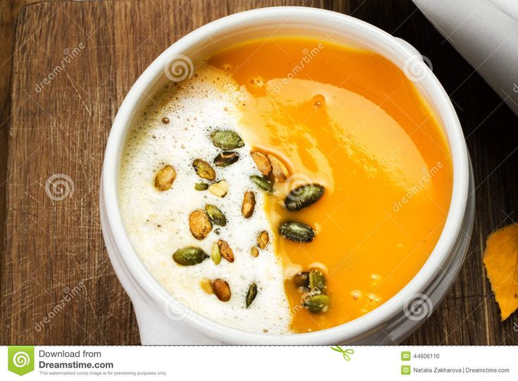 Pumpkin Soup With Whipped Cream And Pumpkin Seeds In A White Pla - Download From Over 42 Million High Quality Stock Photos, Images, Vectors. Sign up for FREE today. Image: 44606110
