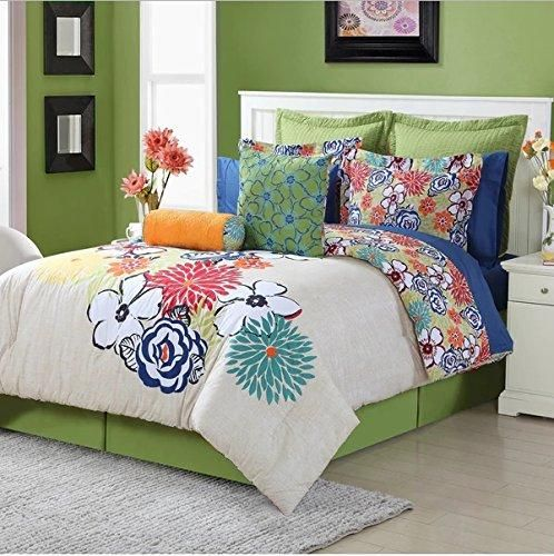 3 Piece Multi Watercolor Floral Motif Themed Comforter Twin Set Boho Chic Bohemian Style Beautiful Bunch Hippie Flow Comforter Sets Comforters Twin Comforter Sets