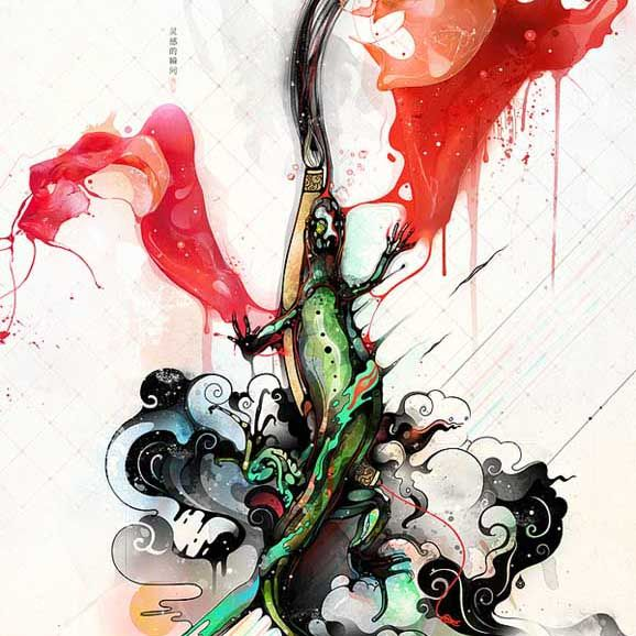 Illustrations of flowing colors