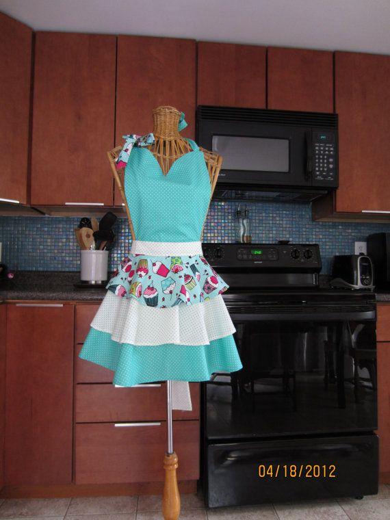 Flirty Cupcake Apron with Aqua Polkas Layered by CherryPieAprons, $30.95