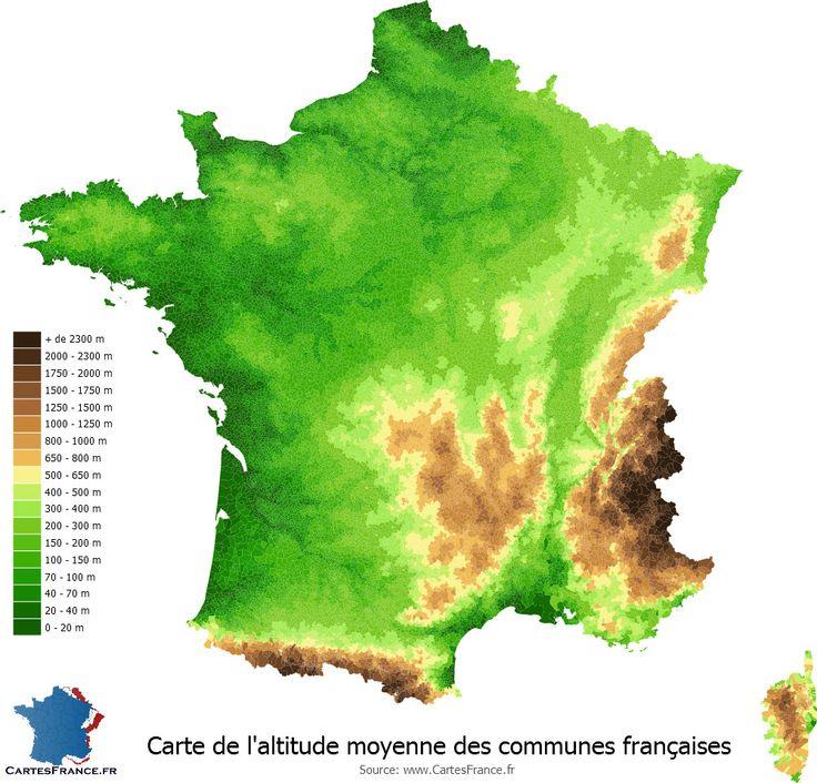 Carte de l'altitude moyenne des communes françaises