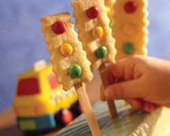 Car Theme Party ~ Make traffic light cookies with red, yellow and green candies on a popsicle stick