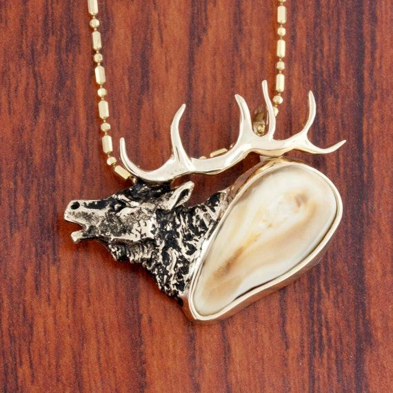 Elk Ivory/Tooth Necklace MOUNTING ONLY in 14K Yellow Gold and Sterling Silver Accented with Trophy Elk Antlers