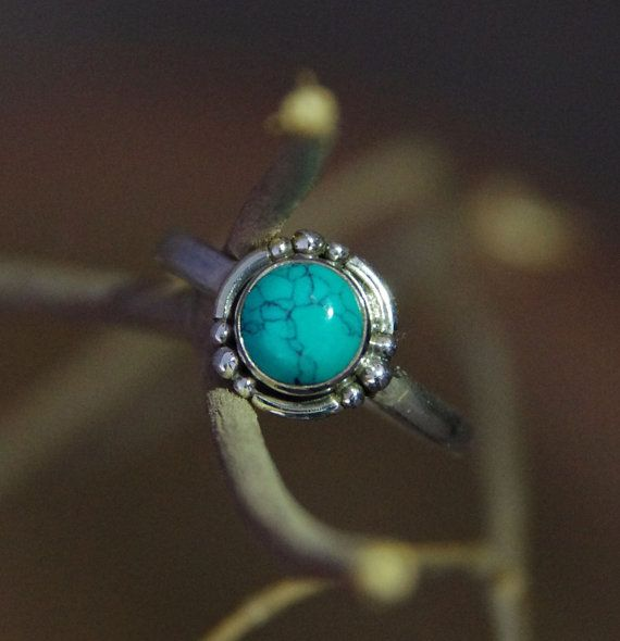 Silver Rings Round Turquoise Silver Rings by AdornmixJewels