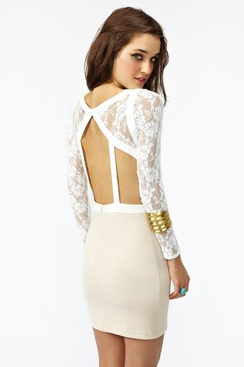 Ivory and white lace dress. I love open back pieces