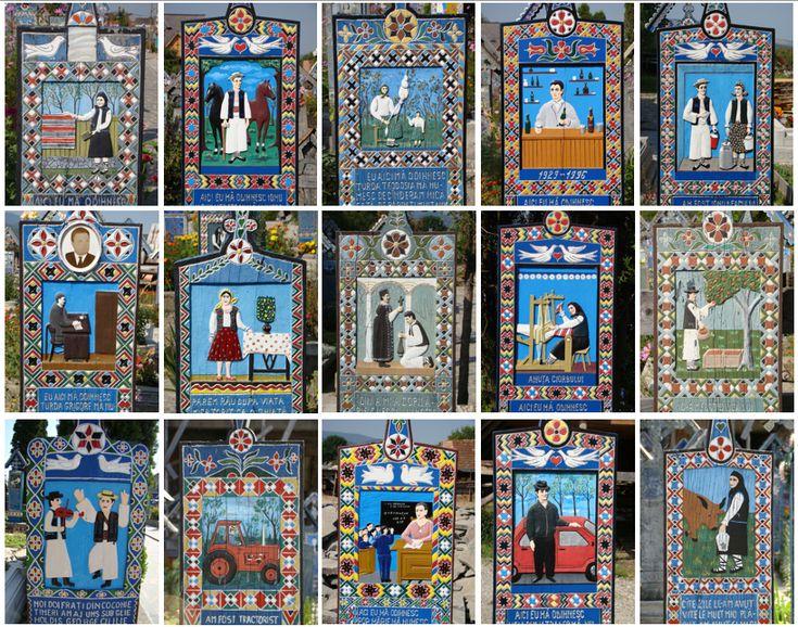 Le ''Cimetière Joyeux de Săpânța'' (Roumanie) - Collage of various tombstones