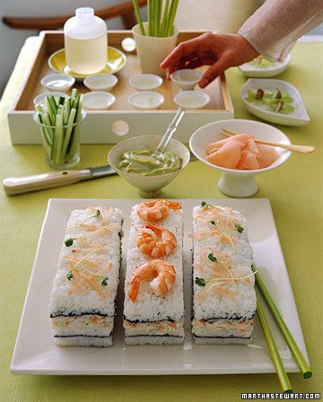 Serve this sushi cake as a precursor to a light Asian-style meal, or alone with hot or cold sake. Since no raw fish is used -- only cooked shrimp and lump crabmeat -- the cake can be made ahead of time and chilled until ready to serve.