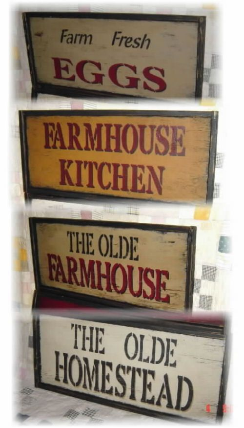 Farmhouse kitchen and The Olde Farmhouse signs..