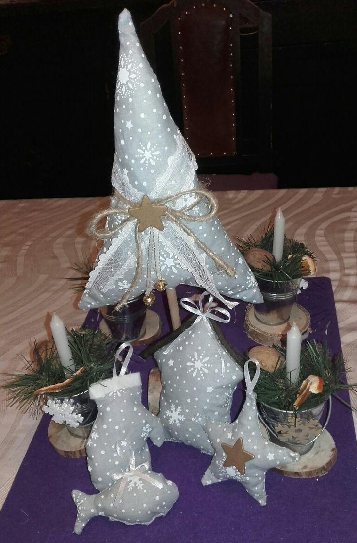 vánoční dekorace z látky