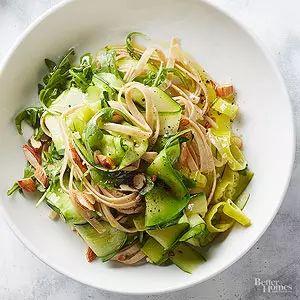 Zucchini Ribbons, Pasta, and Arugula