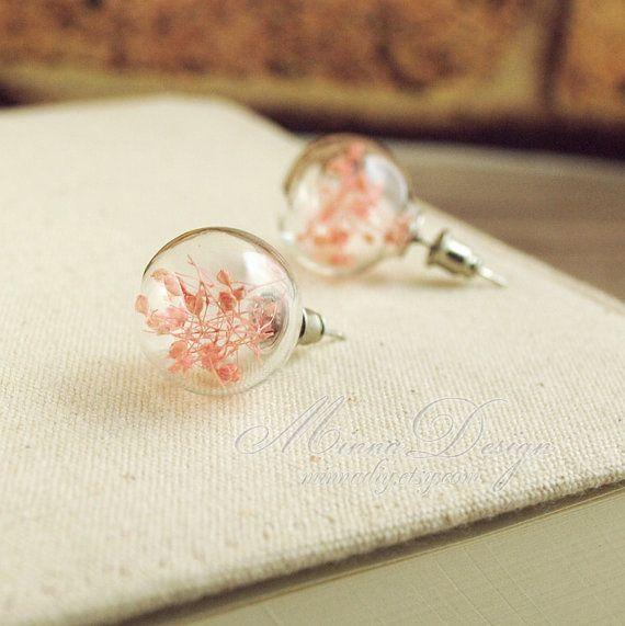 Real Flower Earrings , Lovely Glass Ball Stud Earrings With Pink Gypsophila In it , Pink Flower Earrings, Cute Earring Studs, Gift For Her on Etsy, $11.90