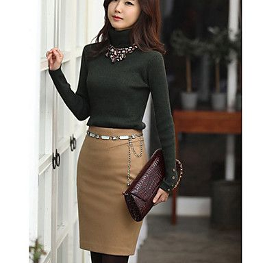 Women's Cashmere Slim Skirt (Belt is Not Included) – USD $ 41.29