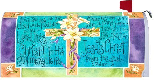 """ Easter Cross "" - Decorative Mailbox Makeover - Rural Size Mailbox Magnetic Cover by Custom Decor. $8.99. Exceptional Quality. Durable - Reusable. Bold Colors and Sharp Detail. Easily Attaches using Magnetic Strips. Mildew Resistant. This beautiful mailbox makeover cover easily attaches to standard rural metal mailbox using magnetic strips. easy to clean and reusable. For plastic mailboxes order the optional kit in our store."