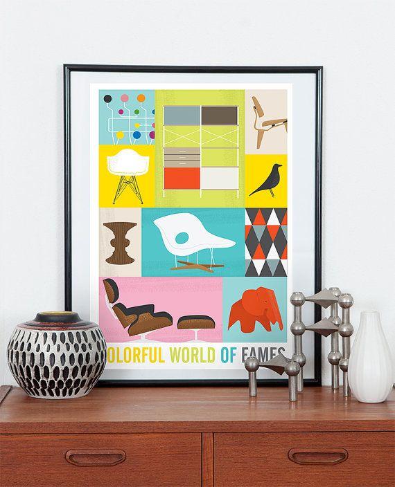 Cartel de Eames, arte retro vivero, arte colorido, mediados siglo moderno, impresión de vivero, cartel retro, era eames, silla de los eames, arte para niños