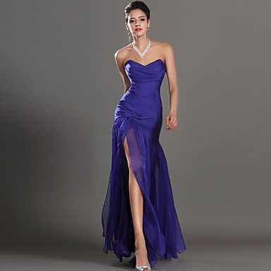 Formal+Evening+Dress+Sheath+/+Column+Sweetheart+Ankle-length+Chiffon+with+Split+Front+–+CAD+$+125.09