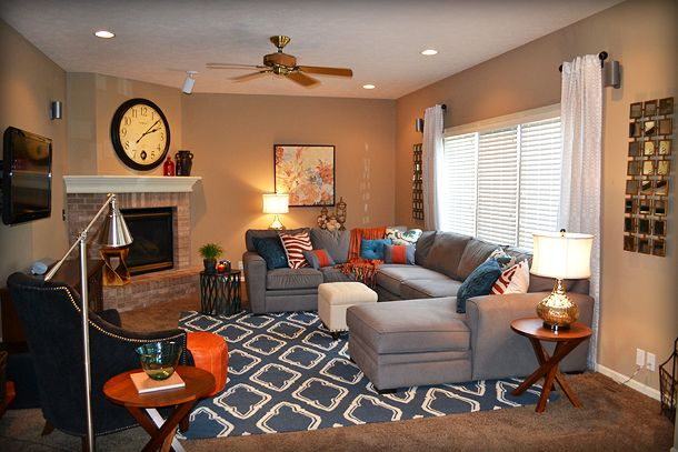 Blue orange and gray living room 2 fluff designs for Grey and orange living room ideas