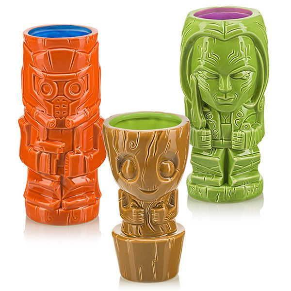 Guardians of the Galaxy Tikis - Star-Lord, Baby Groot, Gamora.