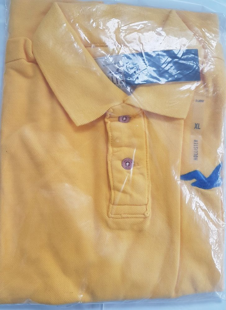 Hollister Mens' Polo Tshirt, Yellow, Brand New with Tags