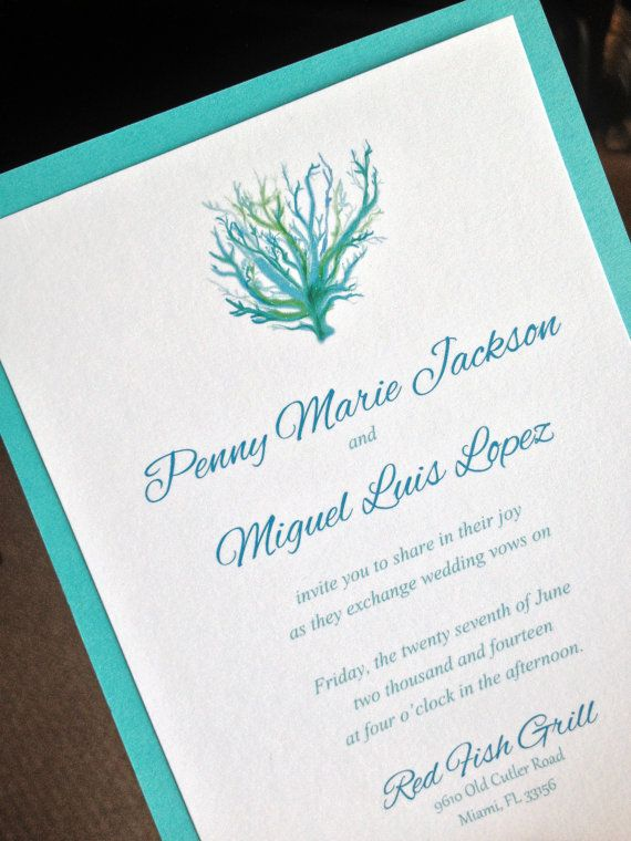 Signature beach wedding invitation and rsvp card with for Royal blue and coral wedding invitations