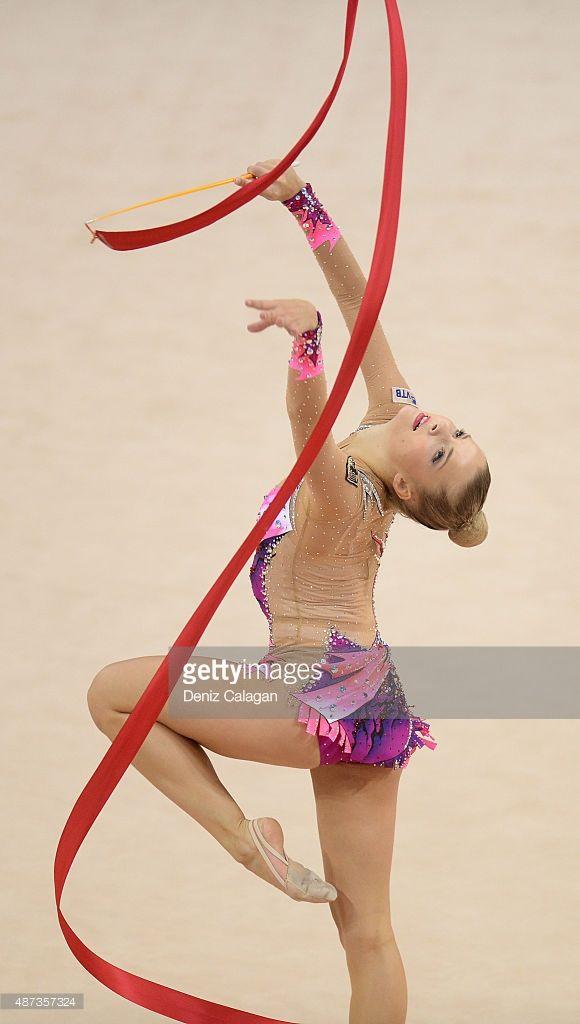 Jana Berezko-Marggrander of Germany competes during the 34th Rhythmic Gymnastics World Championships on September 9, 2015 in Stuttgart, Germany.