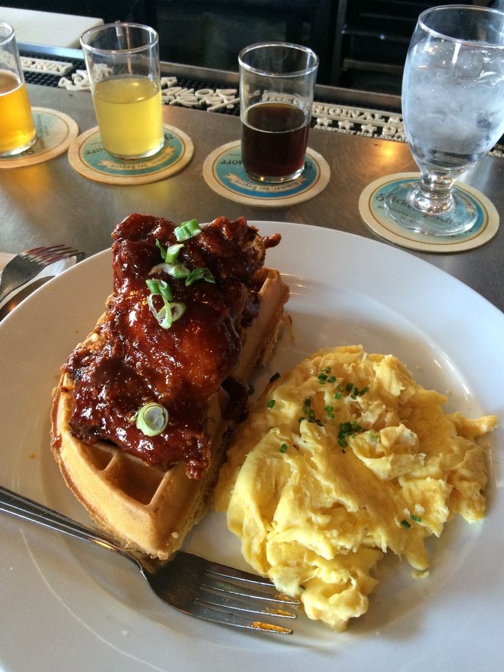 Amazing Korean chicken and waffles with egg [2448X3264] - Click the PIN to see more!